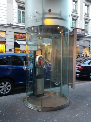 Even the phone booths look fancy.