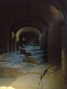 Ruins of roman theatre under the vaults of the palace