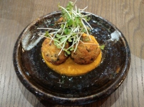 Vadai with carrot puree